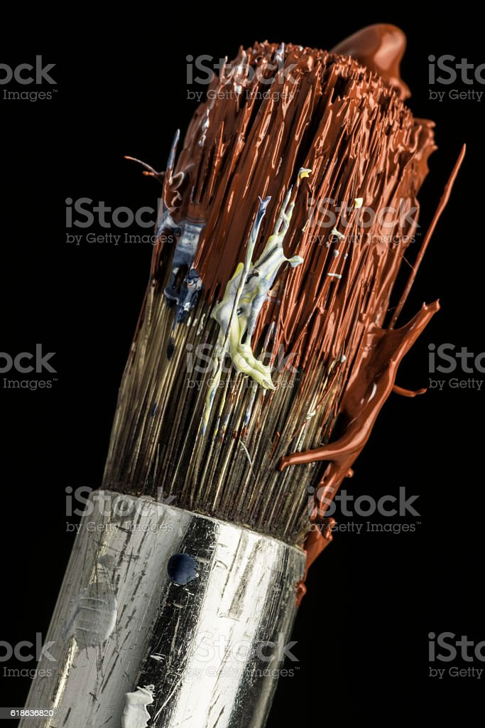 oil colors on paintbrushes stock photo