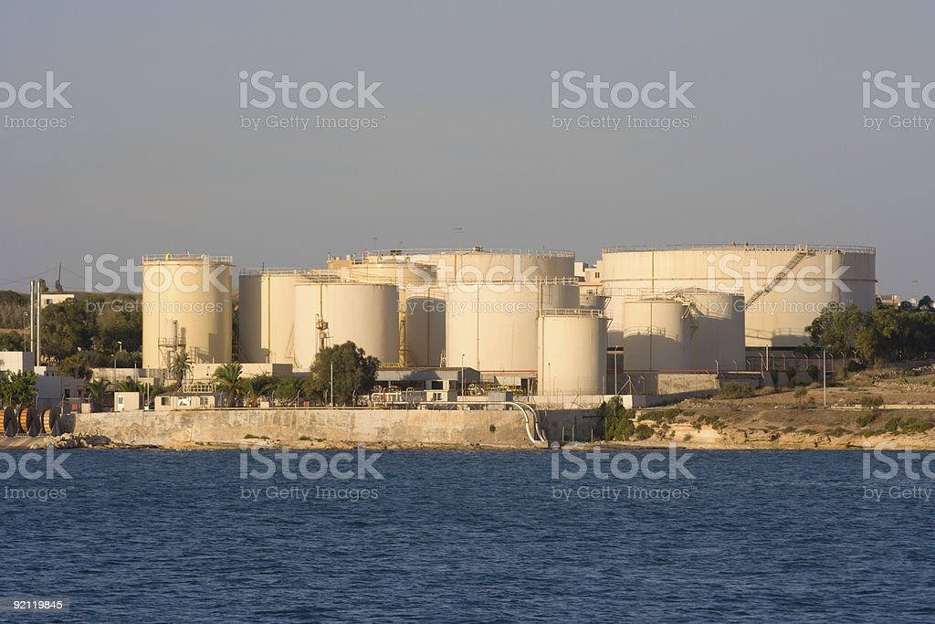 Oil Depot By The Sea royalty-free stock photo