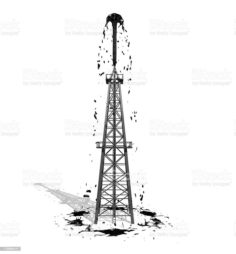 Oil Derrick 2 with shadow stock photo