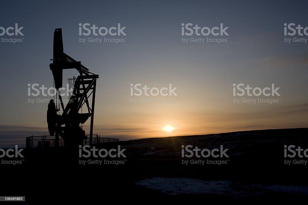 Oil Derrick at Sunrise royalty-free stock photo