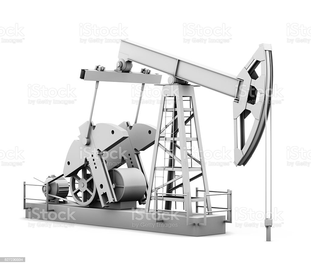 Oil derrick isolated on white background. 3d rendering stock photo