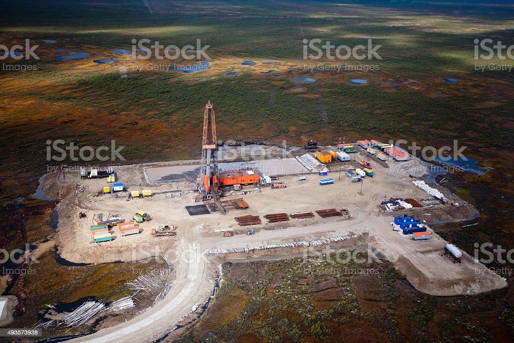 Oil derrick stock photo