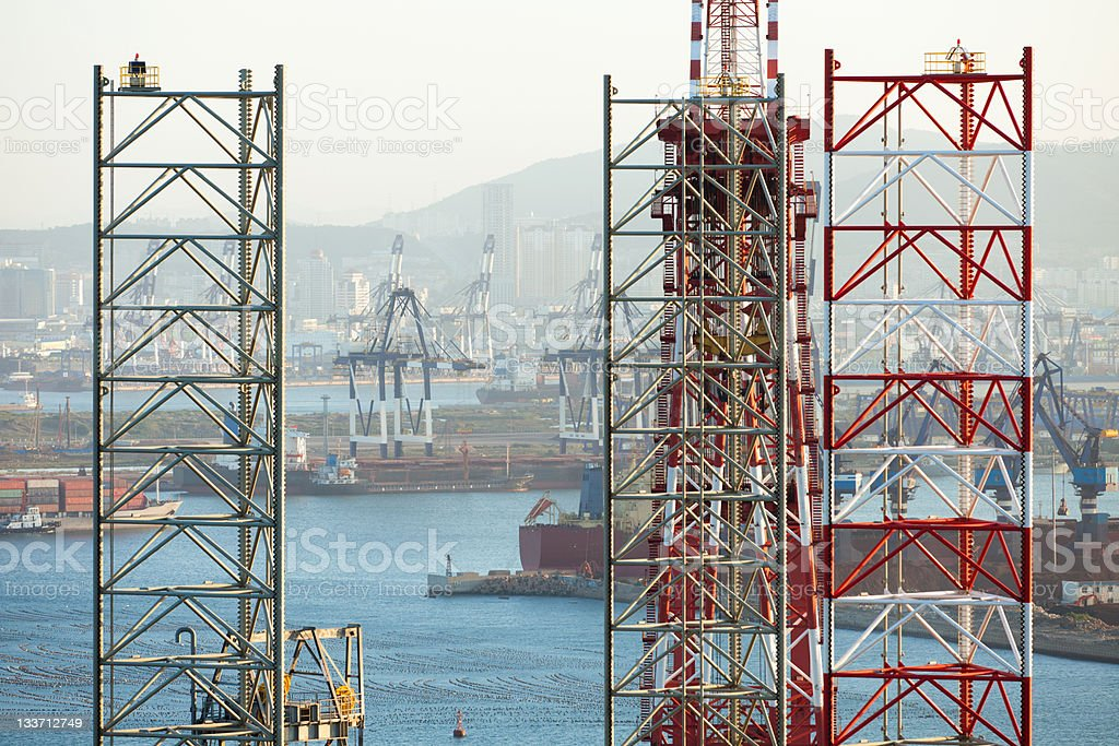 oil drill details and yantai harbor royalty-free stock photo