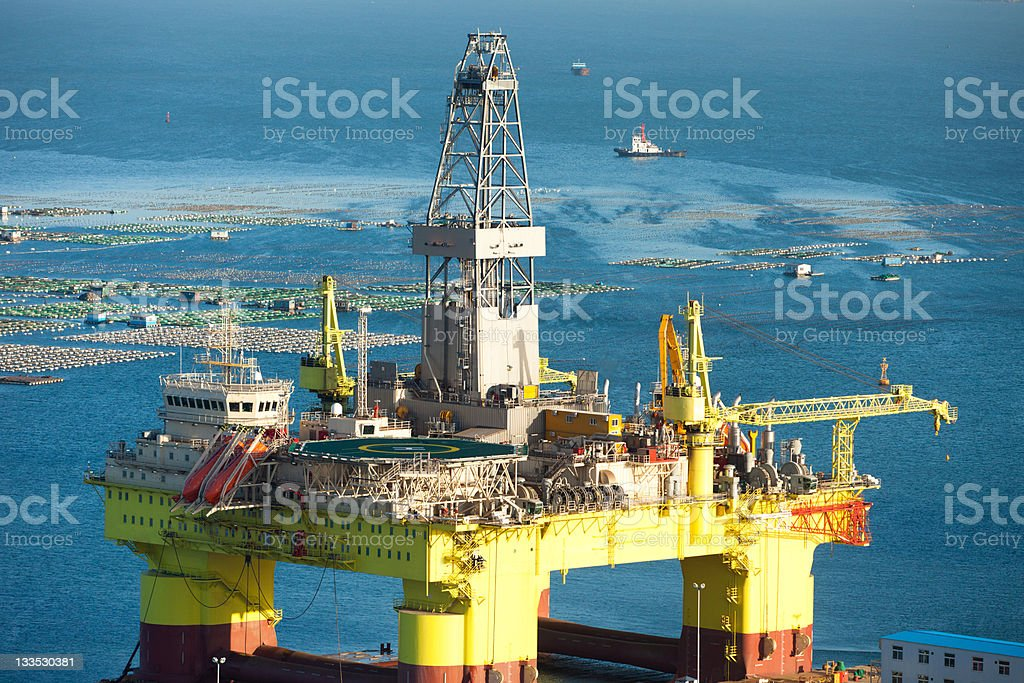 oil drill platform for deep sea royalty-free stock photo