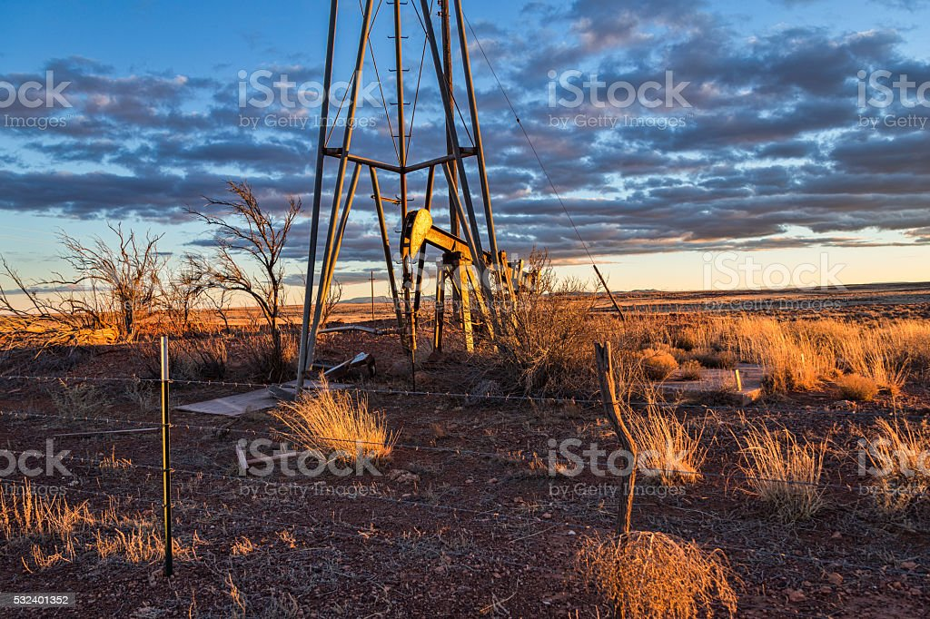 Oil Drill Rig on the Open Plains stock photo