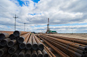 Oil drilling pipe on the background