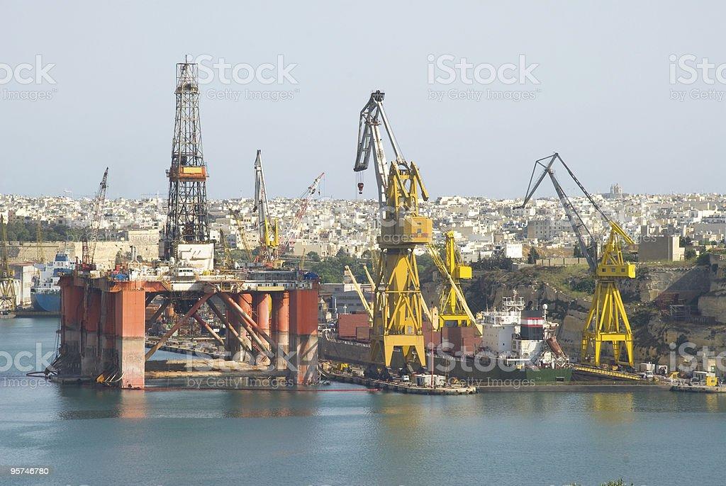 Oil Drilling Platform in Docks royalty-free stock photo