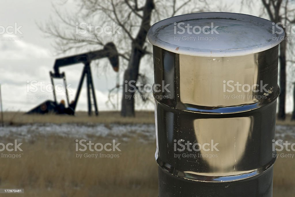 Oil drum and pumper, Colorado stock photo