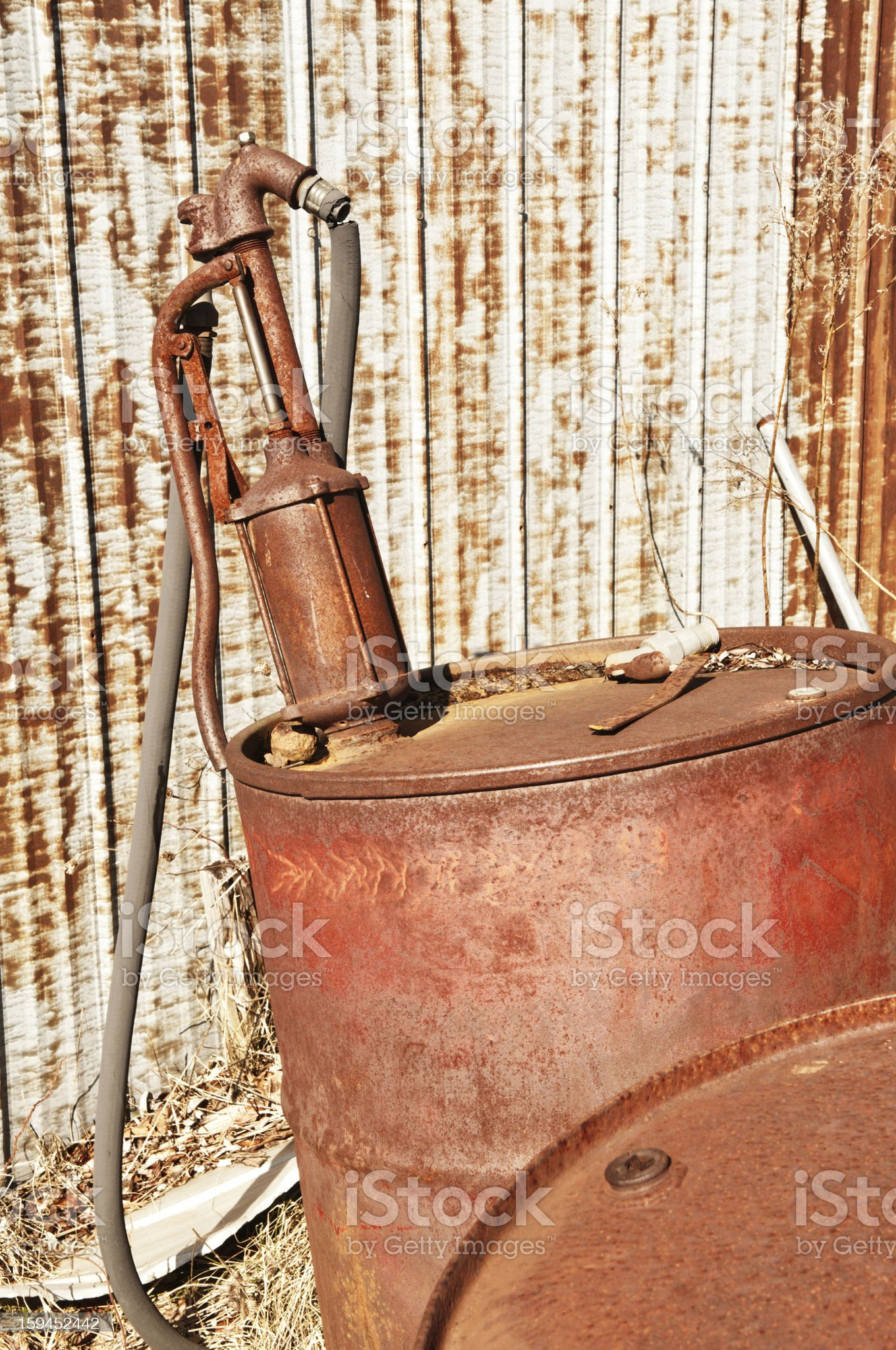 Oil Drums and Pump royalty-free stock photo