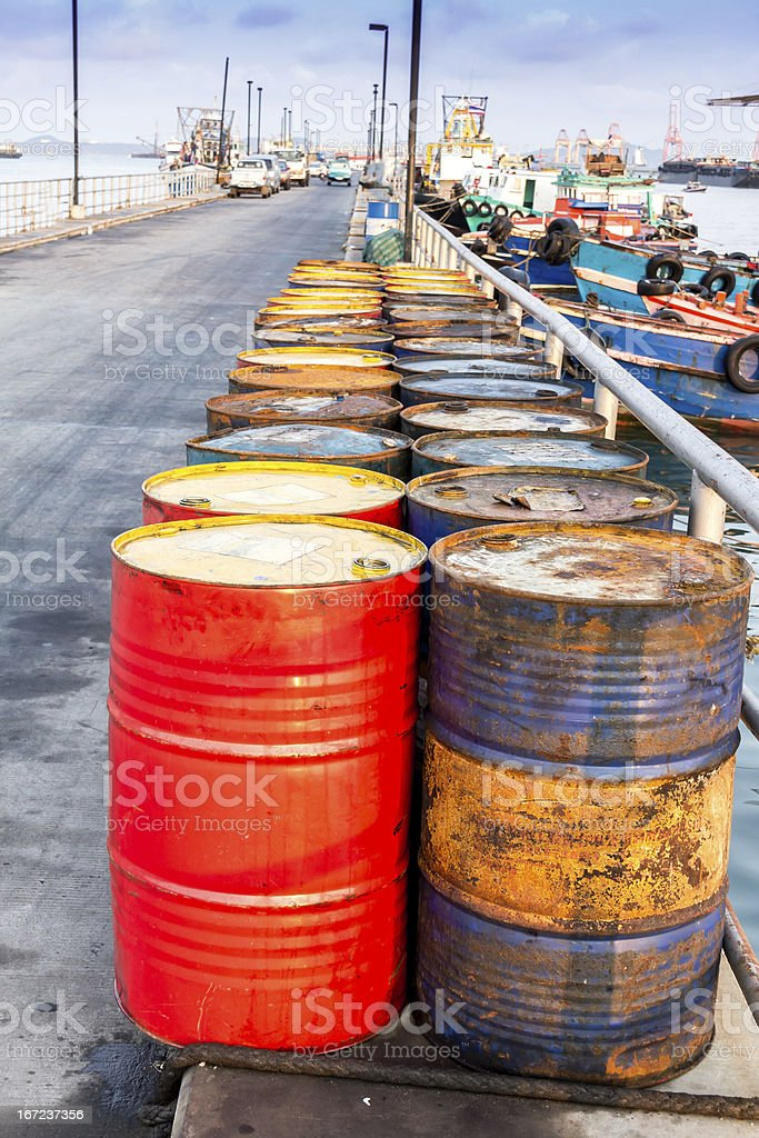 Oil drums on jetty,chonburi in thailand royalty-free stock photo