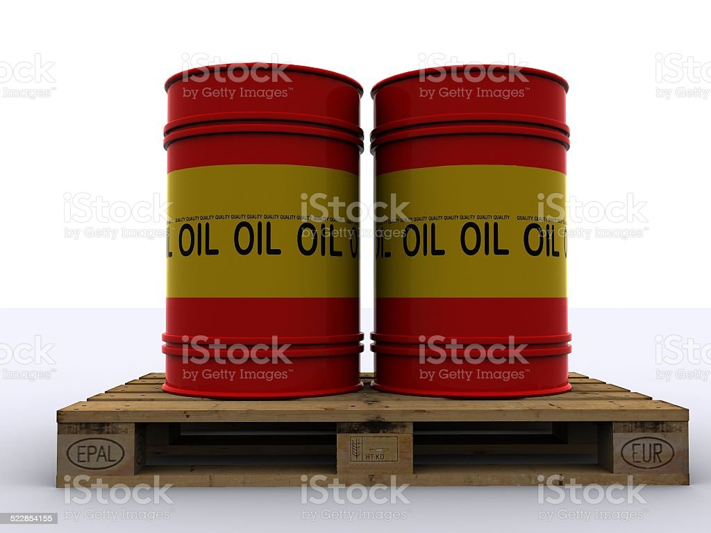 oil drums on pallet stock photo
