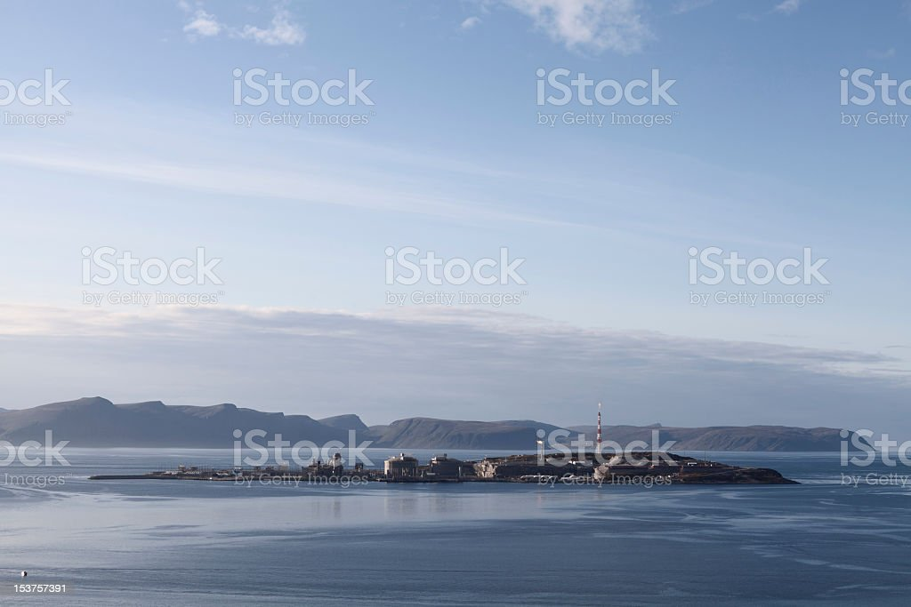 Oil extraction in the village of Hammerfest, Norway stock photo