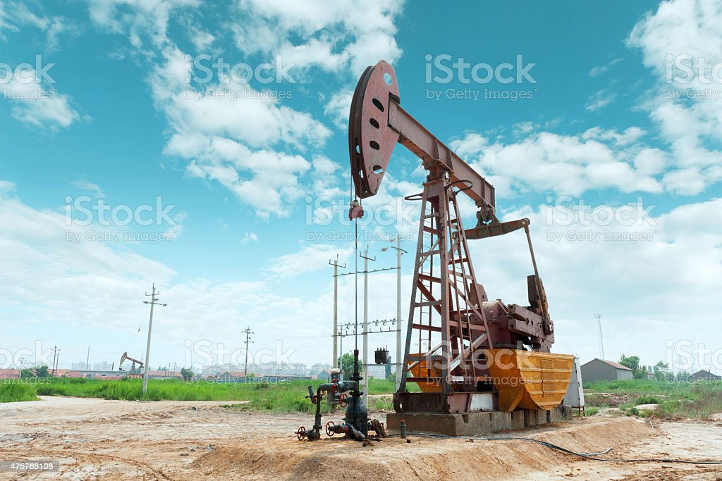 oil field and blue sky stock photo