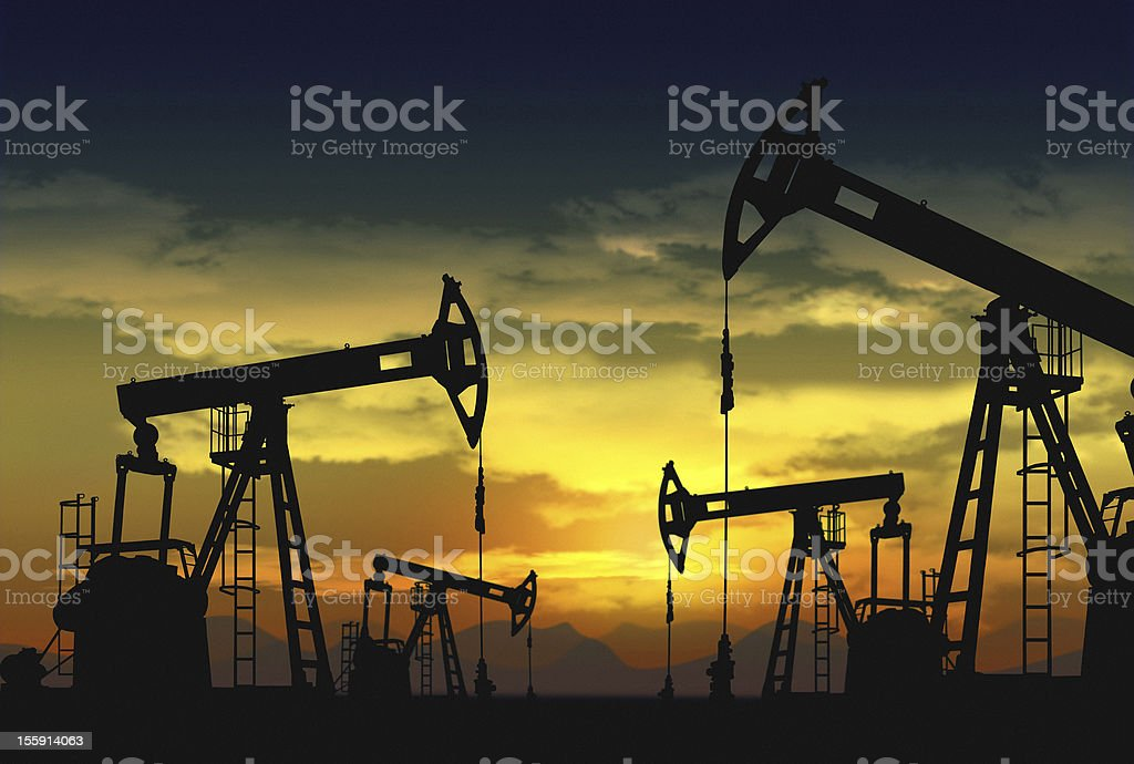 oil field and pump jack royalty-free stock photo