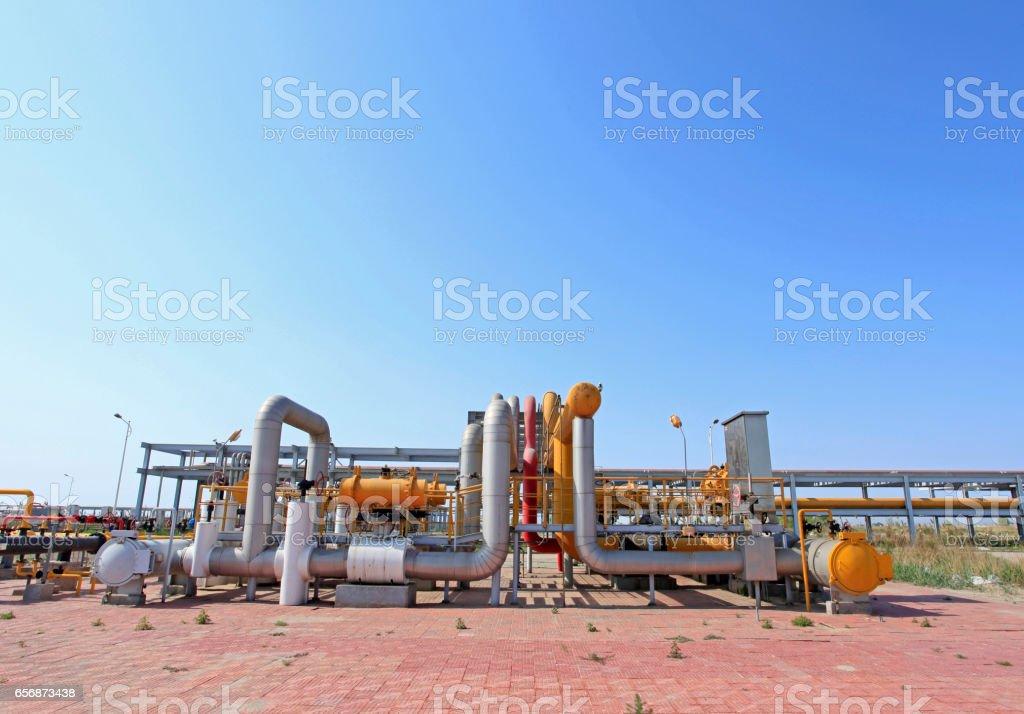 Oil field scene, oilfield equipment at work stock photo