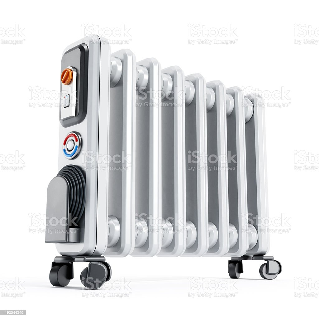 Oil Filled Mobile Radiator with Digital Thermostat stock photo