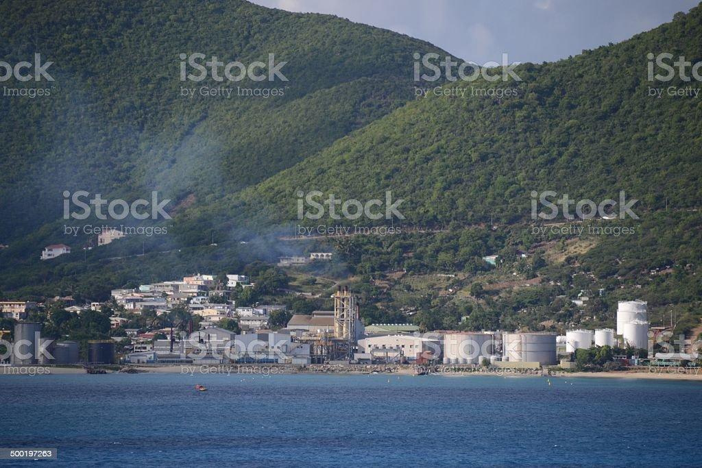 Oil fired power plant St. Maarten stock photo