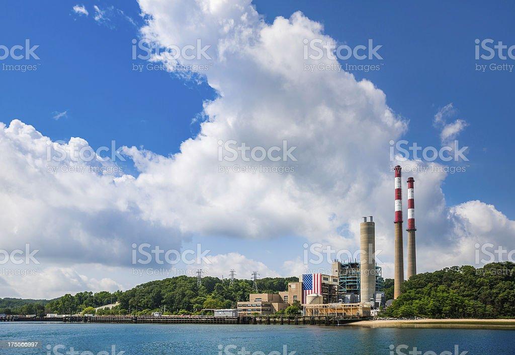 Oil fired powerplant at Port Jefferson, Long Island,  New York stock photo