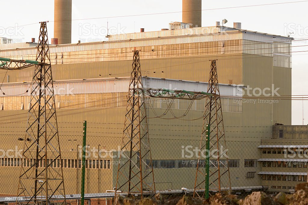 Oil fired thermal power station stock photo
