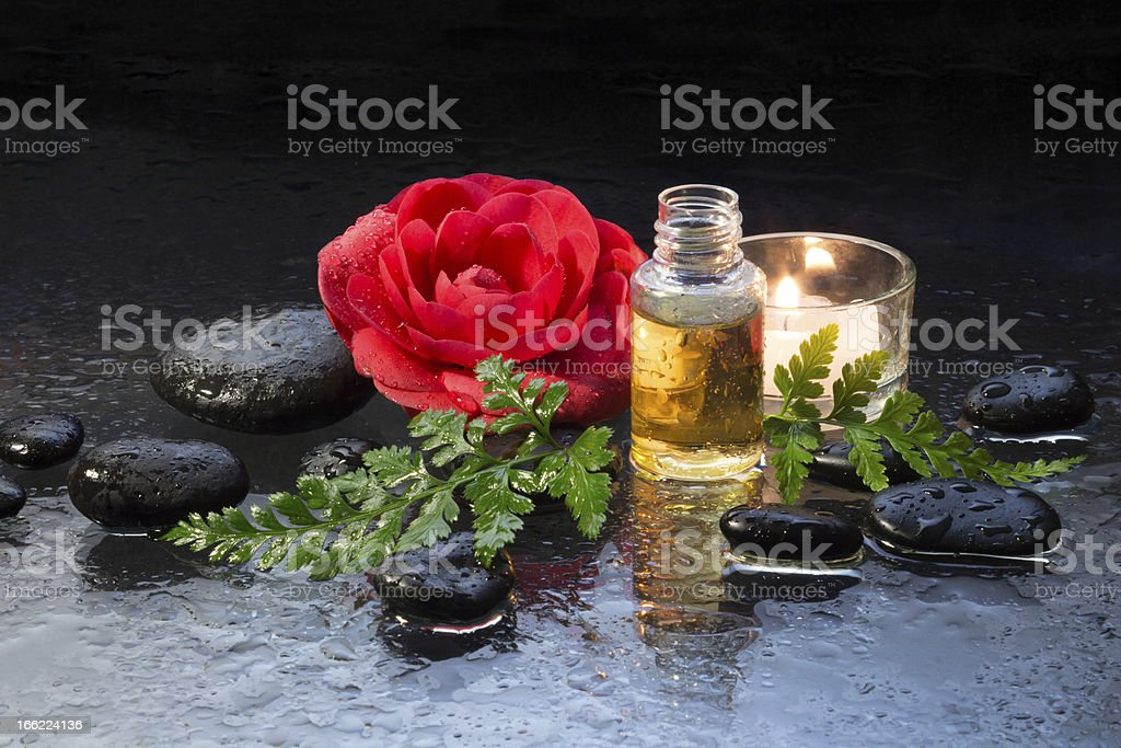 Oil for massage whit camellia and candle royalty-free stock photo