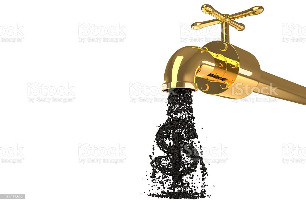 Oil from the golden pipe isolated stock photo