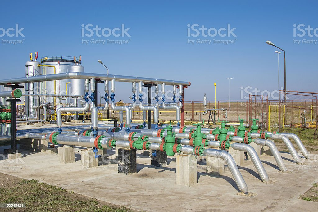 Oil fuel and gas refinery royalty-free stock photo