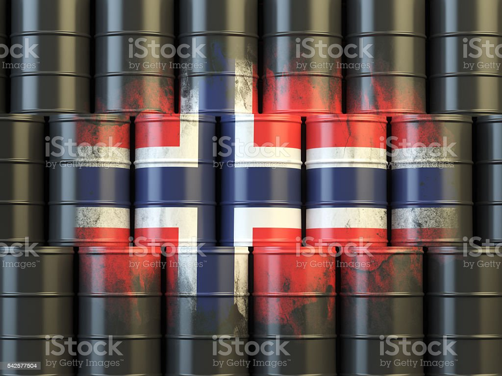 Oil fuel of Norway energy concept. Norwegian flag stock photo