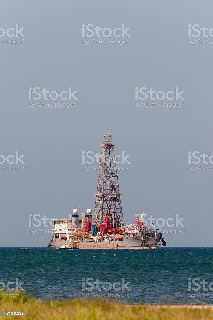 Oil & Gas Drilling Ship in the coastline stock photo