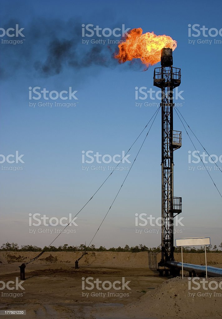 Oil gas flare royalty-free stock photo