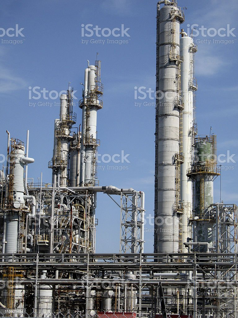 Oil, gas refinery plant factory in daytime. Industrial. Clear sky. royalty-free stock photo