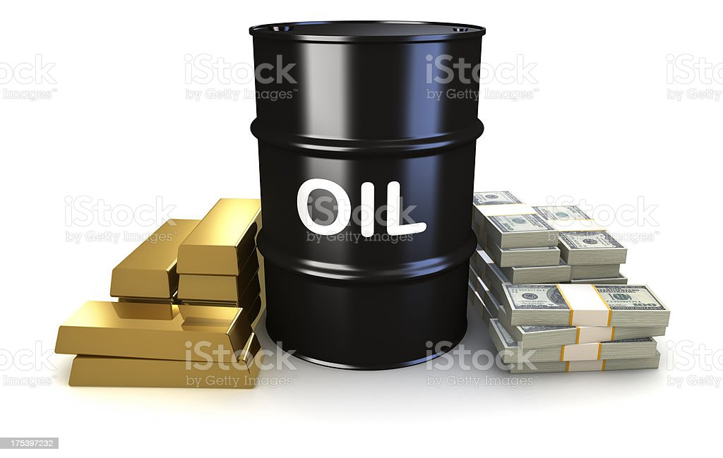 Oil, gold, and money stock photo