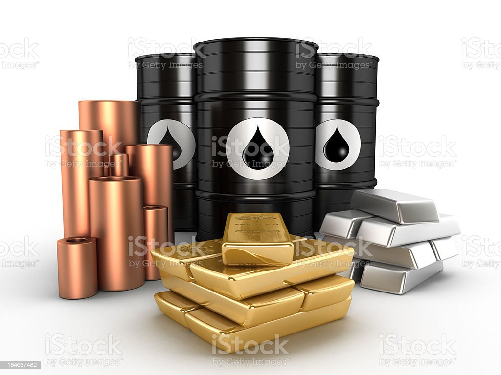 Oil, gold,platinum and copper stock photo