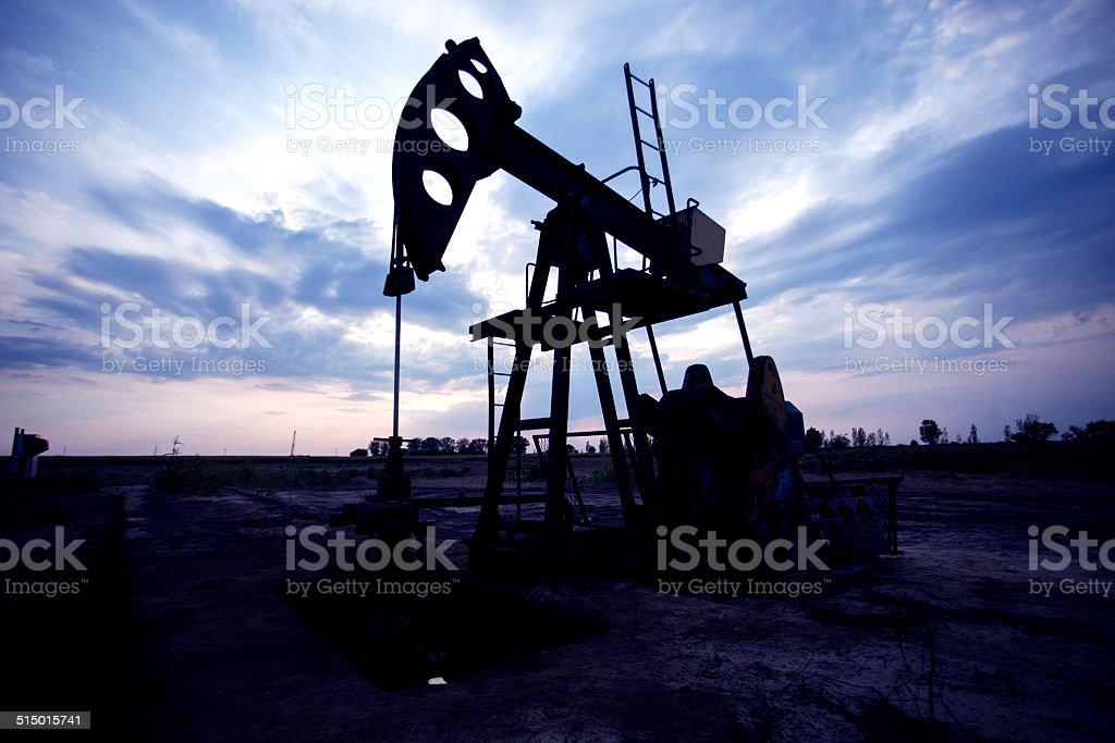 Oil horse head pump stock photo