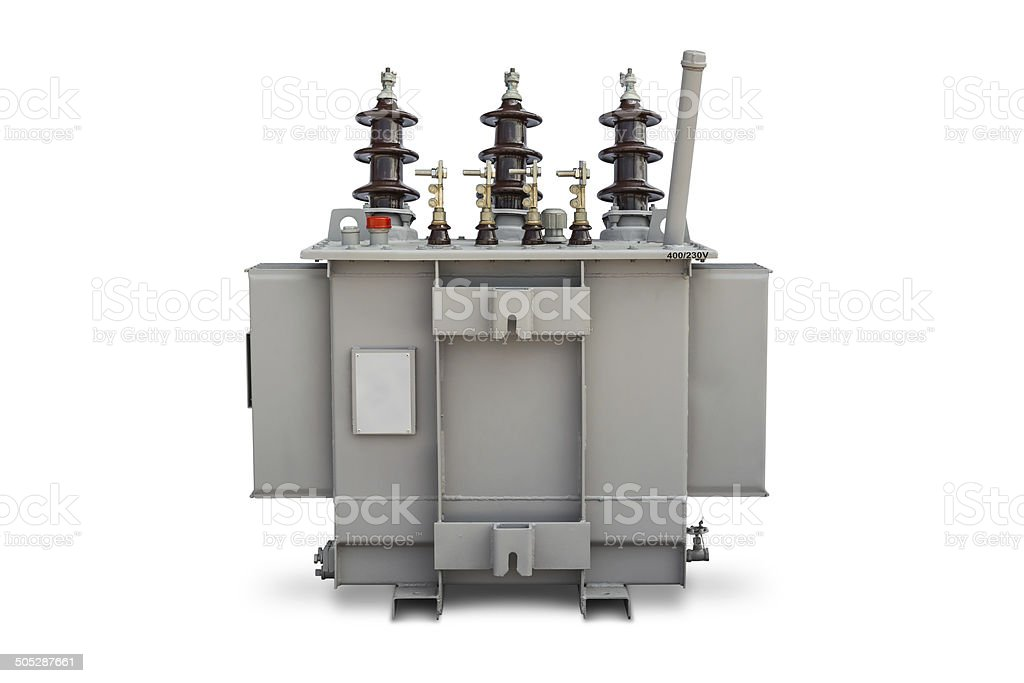Oil immersed transformer stock photo