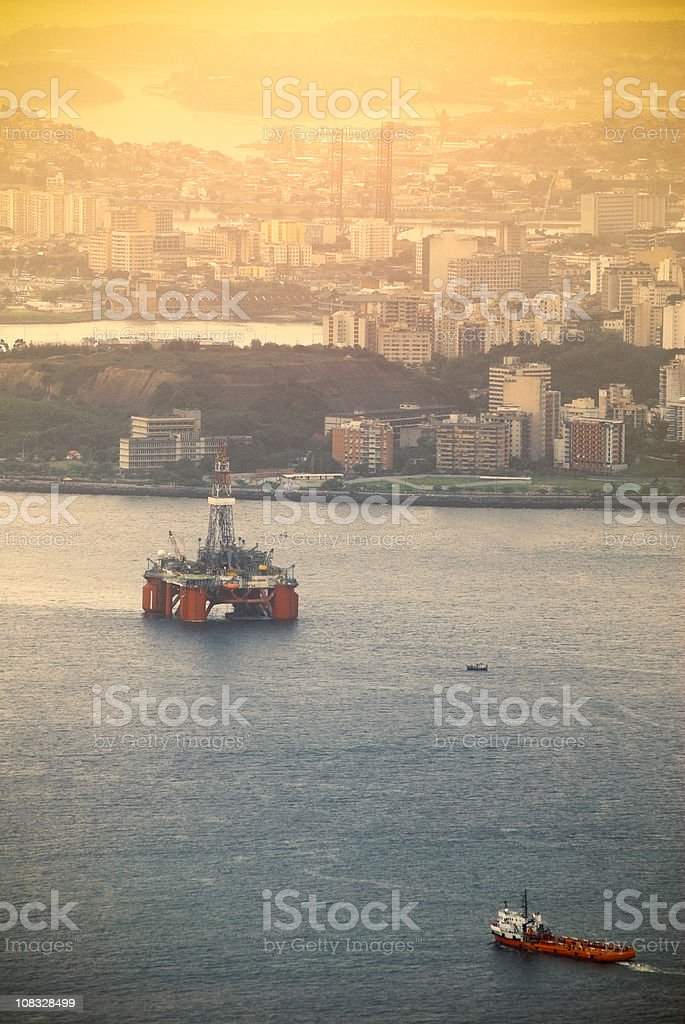 Oil industry at Guanabara Bay, Rio de Janeiro, sunset royalty-free stock photo