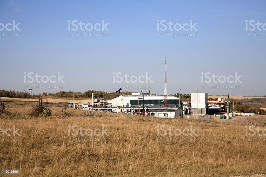 Oil Industry Compressor Station Fall Scenic With Pump Jack stock photo
