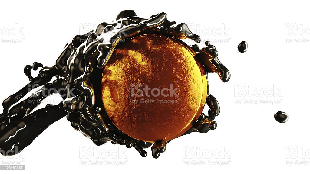 Oil industry: crude flow covering golden coin isolated royalty-free stock photo