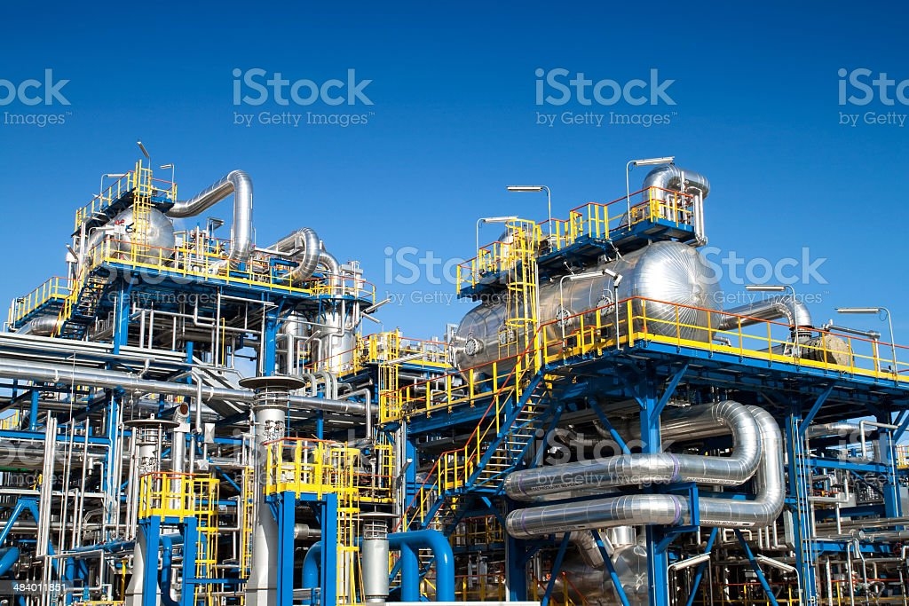 Oil industry equipment installation stock photo