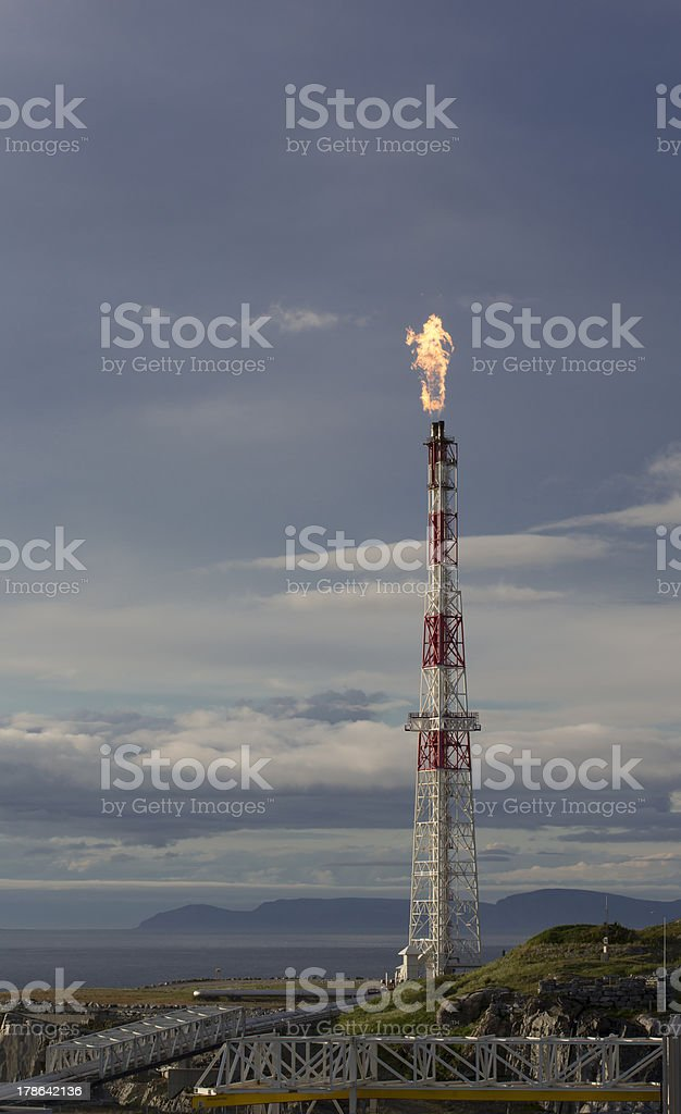 Oil industry flare. stock photo