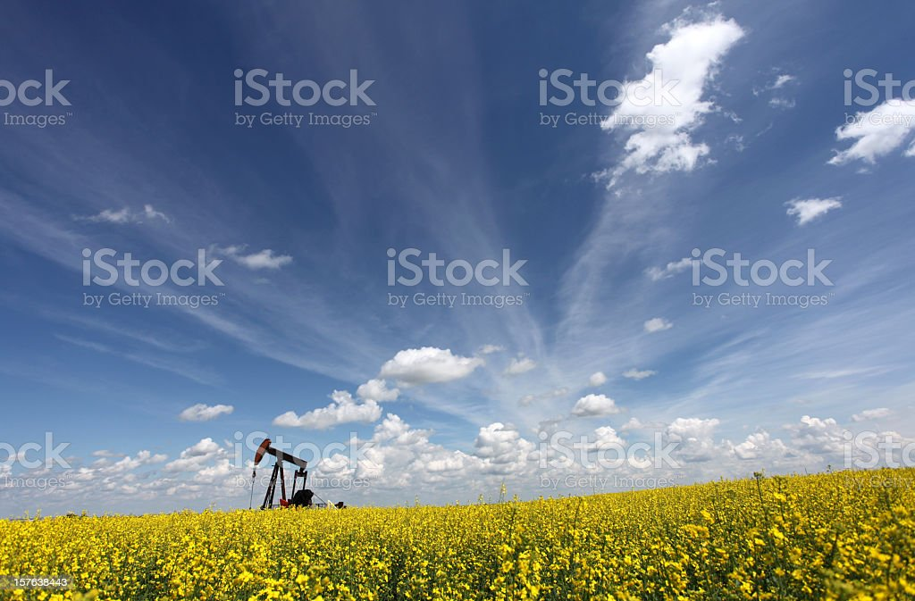 Oil Industry in Alberta with Pumpjack stock photo