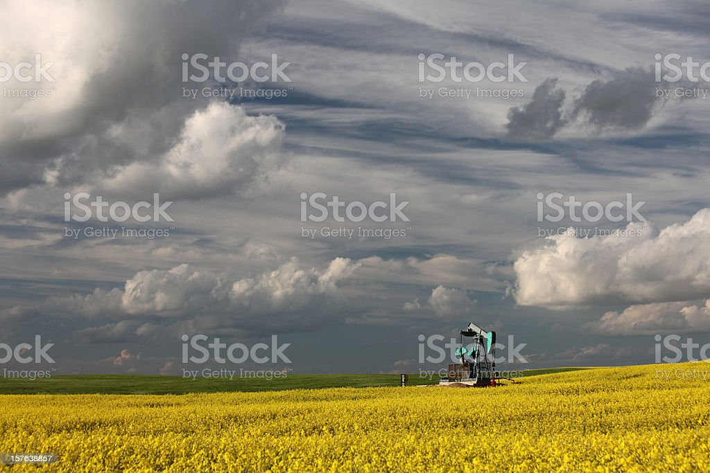 Oil Industry in Alberta with Pumpjack royalty-free stock photo
