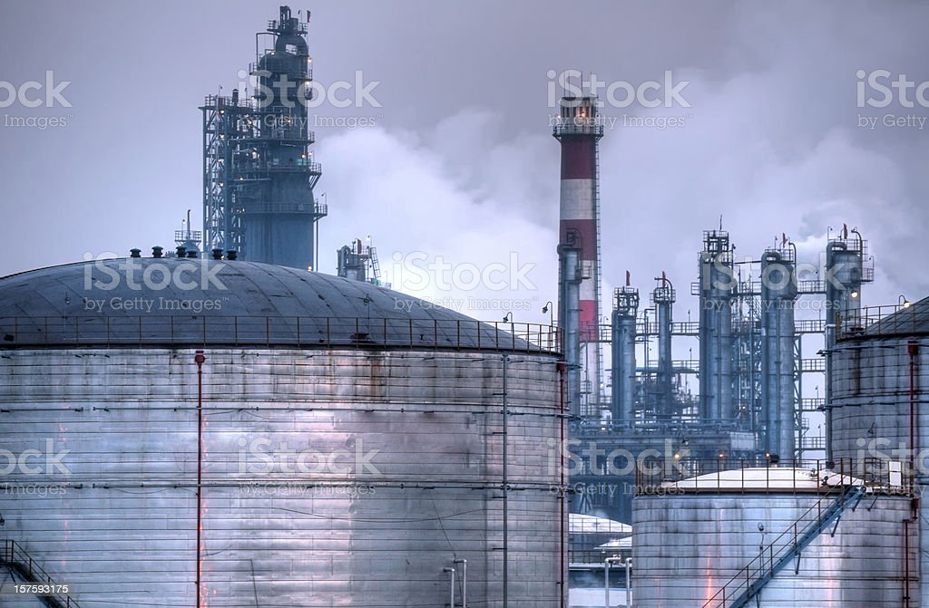 Oil Industry Night Scene - Large royalty-free stock photo