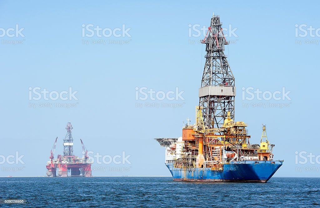 Oil industry parking, Walvis Bay, Namibia, Africa stock photo