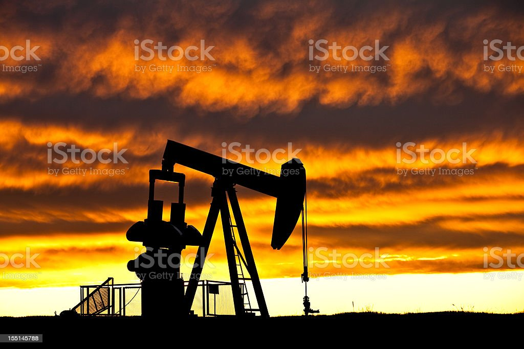 Oil Industry Silhouette stock photo