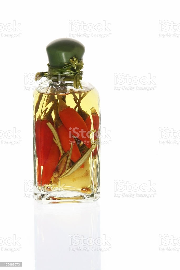 Oil Infused with Red Chilli Peppers royalty-free stock photo