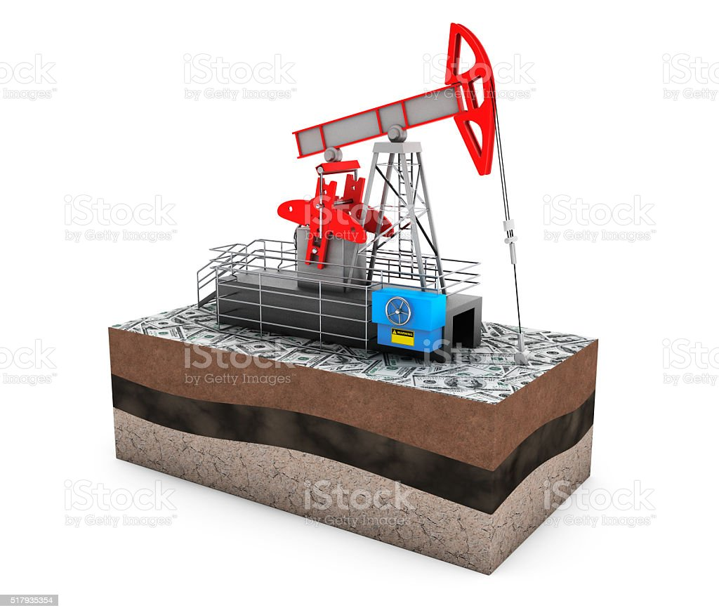 Oil Jack Pump over Ground with Money stock photo