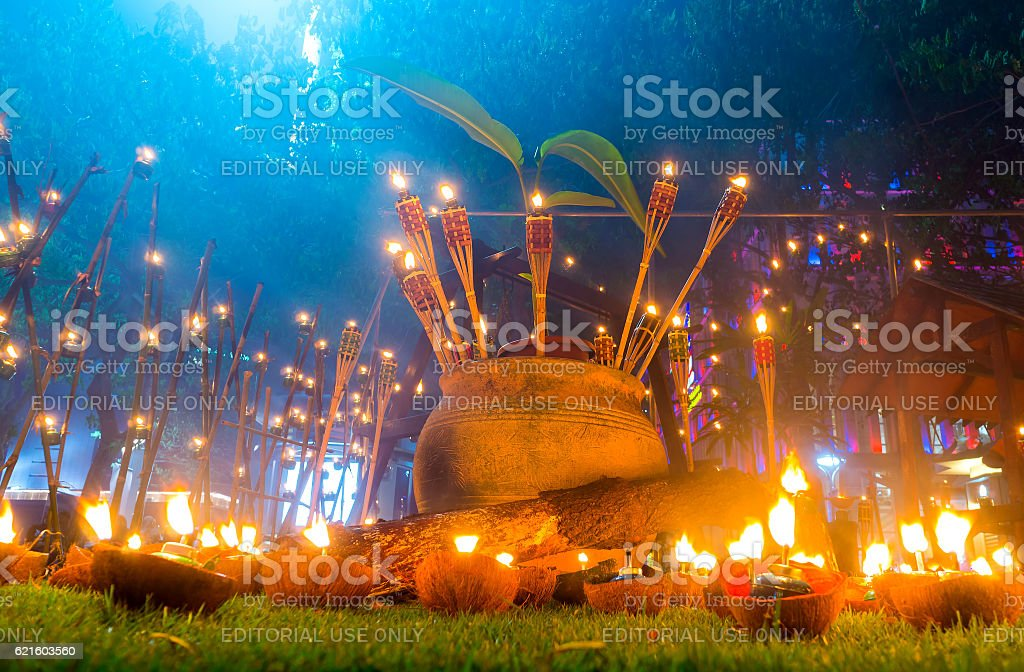 Oil lamp or 'Panjut stock photo