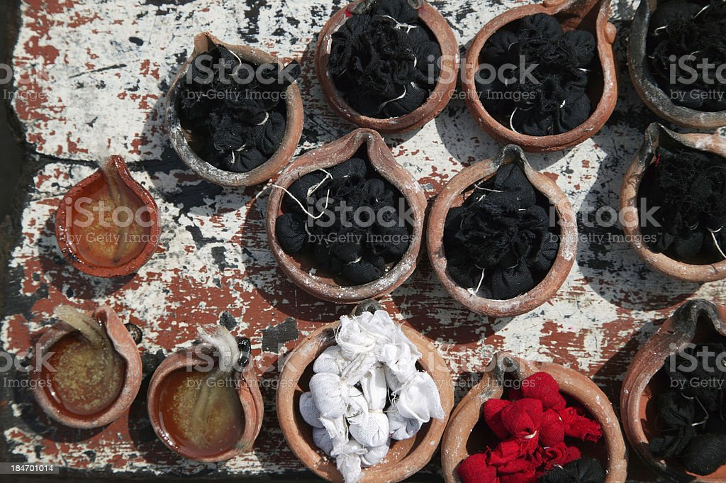 Oil lamps & herbal preparations, Someshwara Temple, Bangalore, India. stock photo
