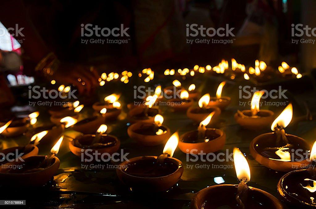 Oil lamps in dipawali stock photo
