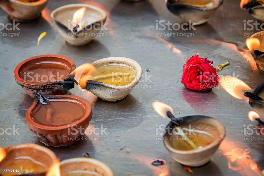 Oil lamps in Sri Veeramakaliamman Temple in Singapore stock photo